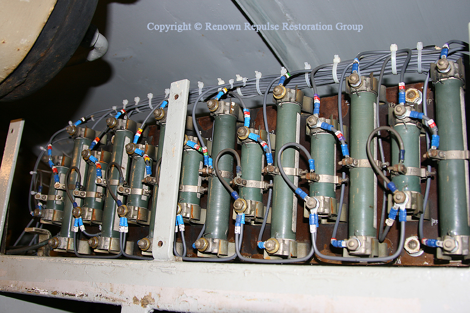 Close up of resistors on top of 50030's electrical cubicle