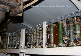 Cab warning light and brake indicator light resistors on top of electrical cubicle