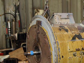 Motor blower in process of overhaul at Bowers