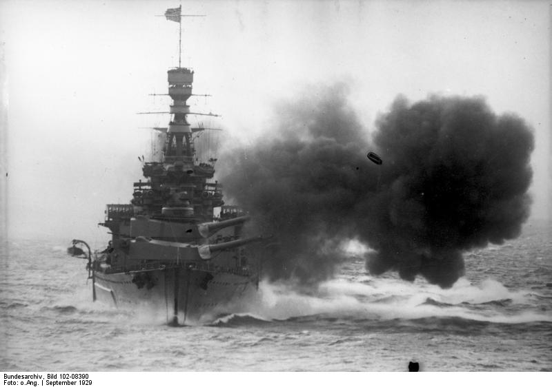 HMS Repulse firing broadside