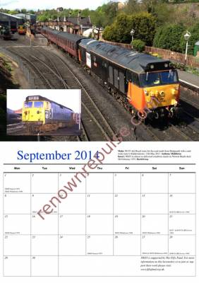 September 2014 calendar image: 50035 at Kidderminster in 2013 and Newton Heath in 1975